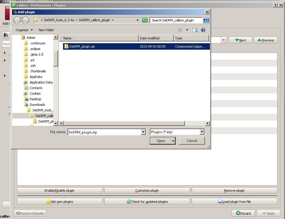 Calibre Add plugin window