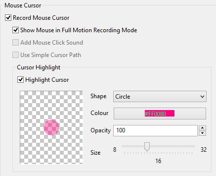 ActivePresenter cursor settings