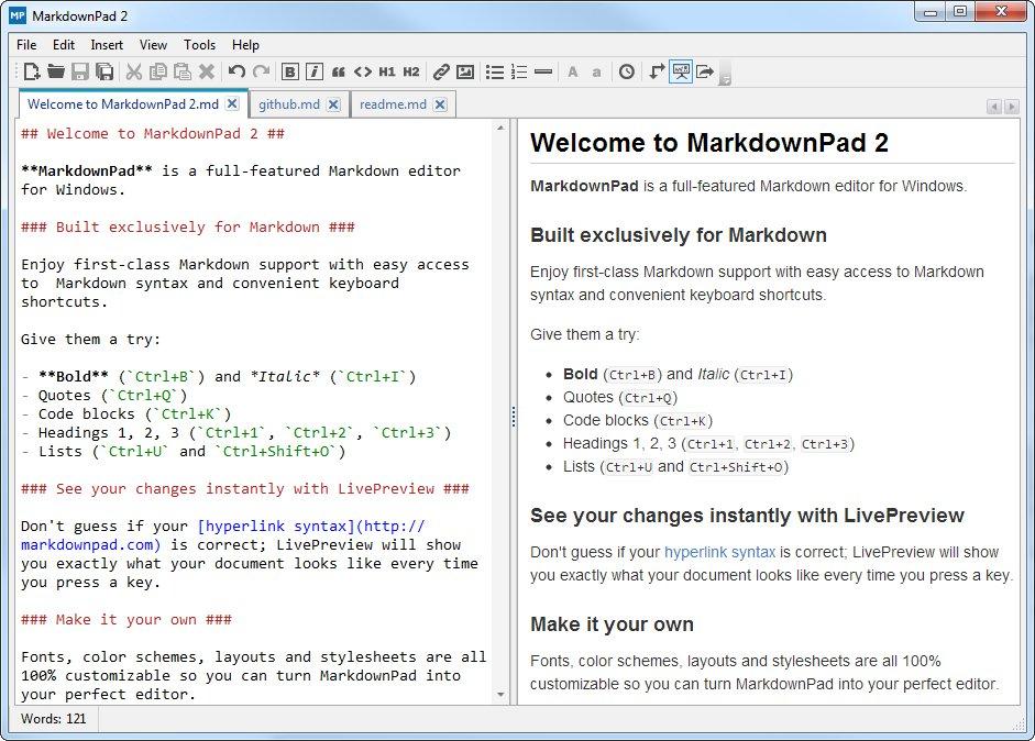Screenshto of MarkdownPad